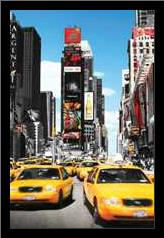 New York Yellow Cabs art print poster with simple frame