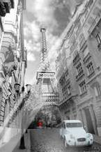 Paris Red Girl Blue Car art print poster with laminate