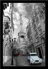 Paris Red Girl Blue Car art print poster with simple frame