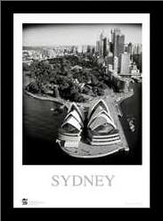 Sydney Opera House 3 art print poster with simple frame