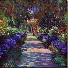 Path in Monets Garden in Giverny art print poster with block mounting