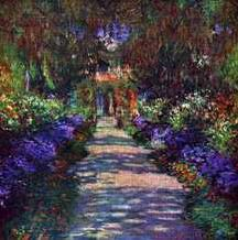 Path in Monets Garden in Giverny art print poster transferred to canvas