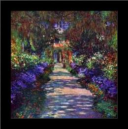 Path in Monets Garden in Giverny art print poster with simple frame