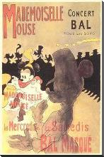 Mademoiselle Mouse art print poster with block mounting