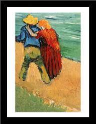 A Pair of Lovers, Arles, 1888 art print poster with simple frame