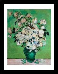 A Vase of Roses, 1890 art print poster with simple frame