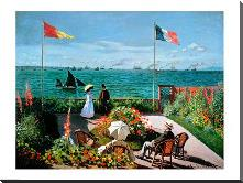 The Terrace at Sainte-Adresse, 1867 art print poster with block mounting