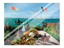 The Terrace at Sainte-Adresse, 1867 art print poster with laminate