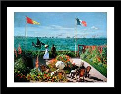 The Terrace at Sainte-Adresse, 1867 art print poster with simple frame