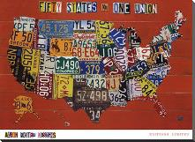 Fifty States, One Nation art print poster with block mounting