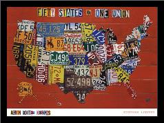 Fifty States, One Nation art print poster with simple frame