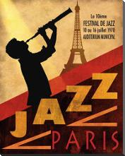 1970 Jazz in Paris art print poster with block mounting