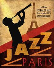 1970 Jazz in Paris art print poster transferred to canvas