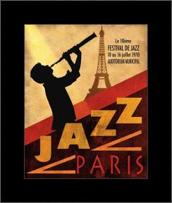 1970 Jazz in Paris art print poster with simple frame