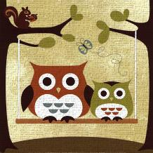 Two Owls on Swing art print poster transferred to canvas
