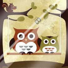 Two Owls on Swing art print poster with laminate