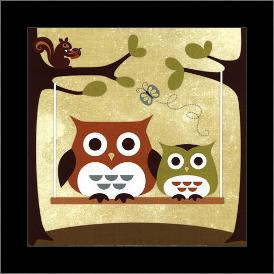 Two Owls on Swing art print poster with simple frame