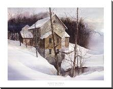 Winter Mill art print poster with block mounting