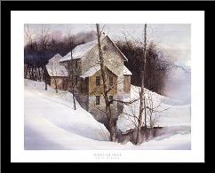 Winter Mill art print poster with simple frame