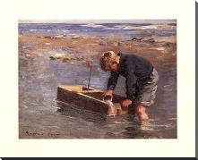 Boy with boat art print poster with block mounting