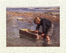 Boy with boat art print poster transferred to canvas