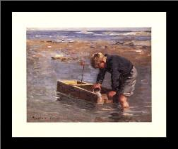 Boy with boat art print poster with simple frame