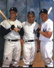 Roger Maris, Yogi Berra, and Mickey Mantle art print poster with block mounting