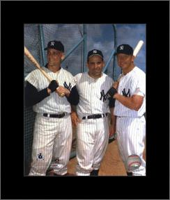 Roger Maris, Yogi Berra, and Mickey Mantle art print poster with simple frame