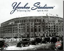 Yankee Stadium 1923 Opening Day With Overlay art print poster with block mounting