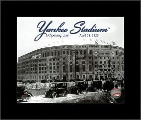 Yankee Stadium 1923 Opening Day With Overlay art print poster with simple frame