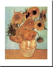 Vase with Twelve Sunflowers, c.1888 art print poster with block mounting