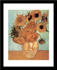 Vase with Twelve Sunflowers, c.1888 art print poster with simple frame