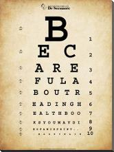 Mark Twain Eye Chart art print poster with block mounting