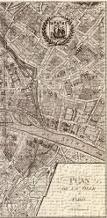 Plan de la Ville de Paris, 1715 art print poster transferred to canvas