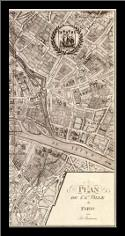 Plan de la Ville de Paris, 1715 art print poster with simple frame