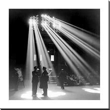 Chicago Union Station 1943 art print poster with block mounting