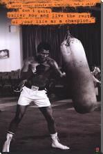 Muhammad Ali (Punchbag) art print poster with block mounting