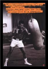 Muhammad Ali (Punchbag) art print poster with simple frame