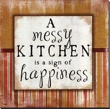 Messy Kitchen art print poster with block mounting