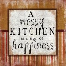 Messy Kitchen art print poster transferred to canvas