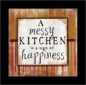 Messy Kitchen art print poster with simple frame