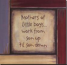 Mothers of Little Boys art print poster with block mounting