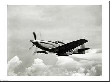 Low angle view of a military airplane in flight, F-51 Mustang art print poster with block mounting