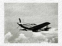 Low angle view of a military airplane in flight, F-51 Mustang art print poster transferred to canvas
