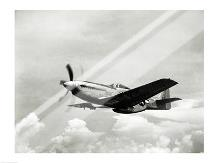 Low angle view of a military airplane in flight, F-51 Mustang art print poster with laminate