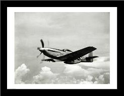 Low angle view of a military airplane in flight, F-51 Mustang art print poster with simple frame