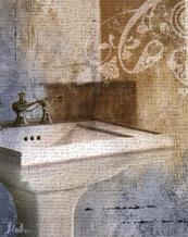 Bath Room & Ornaments II art print poster transferred to canvas