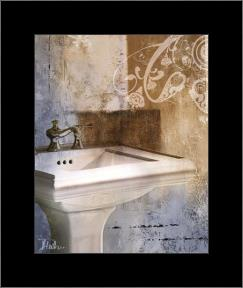 Bath Room & Ornaments II art print poster with simple frame