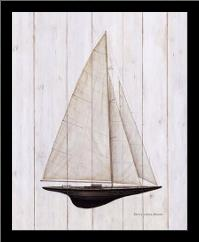 Sailboat II art print poster with simple frame