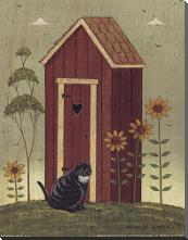 Outhouse with Cat art print poster with block mounting